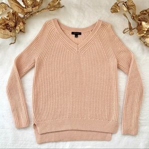 Ann Taylor Cropped Cable Knit V-Neck Sweater